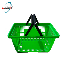 Commercial Supermarket Plastic Folding Rolling Shopping Basket with Wheels