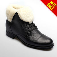 2013 white sheep fur leather warm snow boots/cow leather men shoes