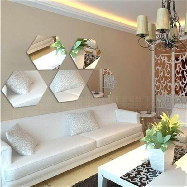 Removable acrylic hexagon mirror home decoration Wall Stickers ...