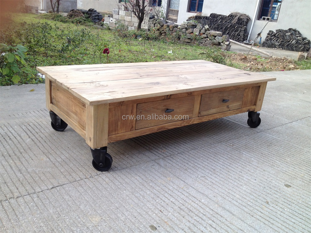 Re 1535 movable coffee table old door industrial coffee for Movable coffee table