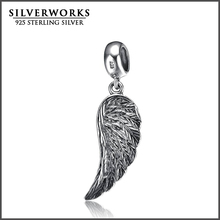 925 Sterling Silver Angelic Feathers Charm Angel Wing Beads Fit Snake Bracelet
