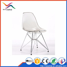 Simple Model Transparent Acrylic Clear Plastic Wire Metal Base Chair