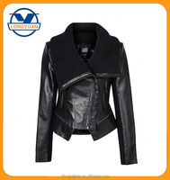women mini motorbike leather jacket for ladies