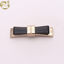 Z-1410 Black Metal Zinc Alloy Bow Knot Brand Cheap Decorative Buckle Straight Line Shoes Ornament