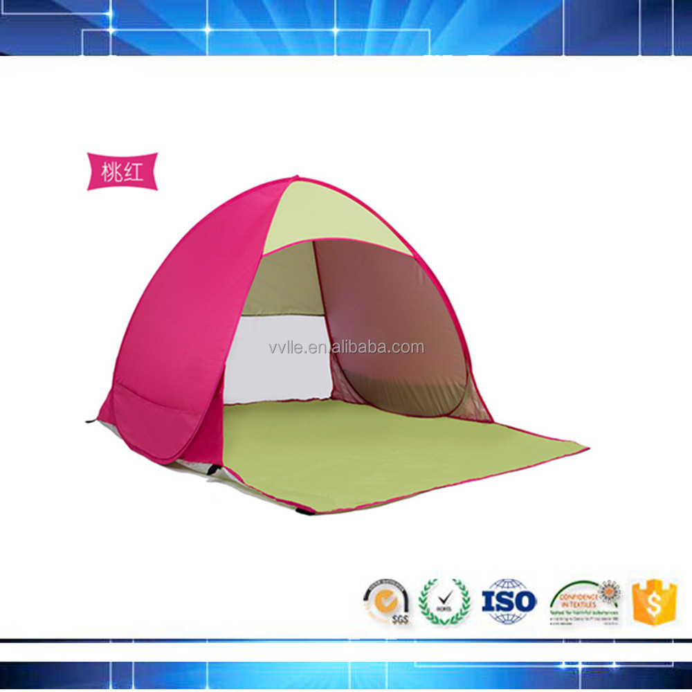 pink 3 person family camping tente inflatable beach kid tent