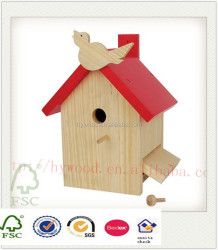 new cheap indoor outdoor water rain proof christmas decorative painting wood new unfinished wooden bird house for wholesale