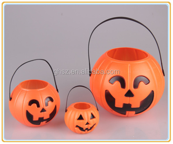 Factory price props plastic halloween pumpkin bucket halloween party decoration manufacturer