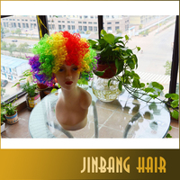 Wholesale fashion cheap colorful clown wigs/rainbow wigs/coloured fun wigs