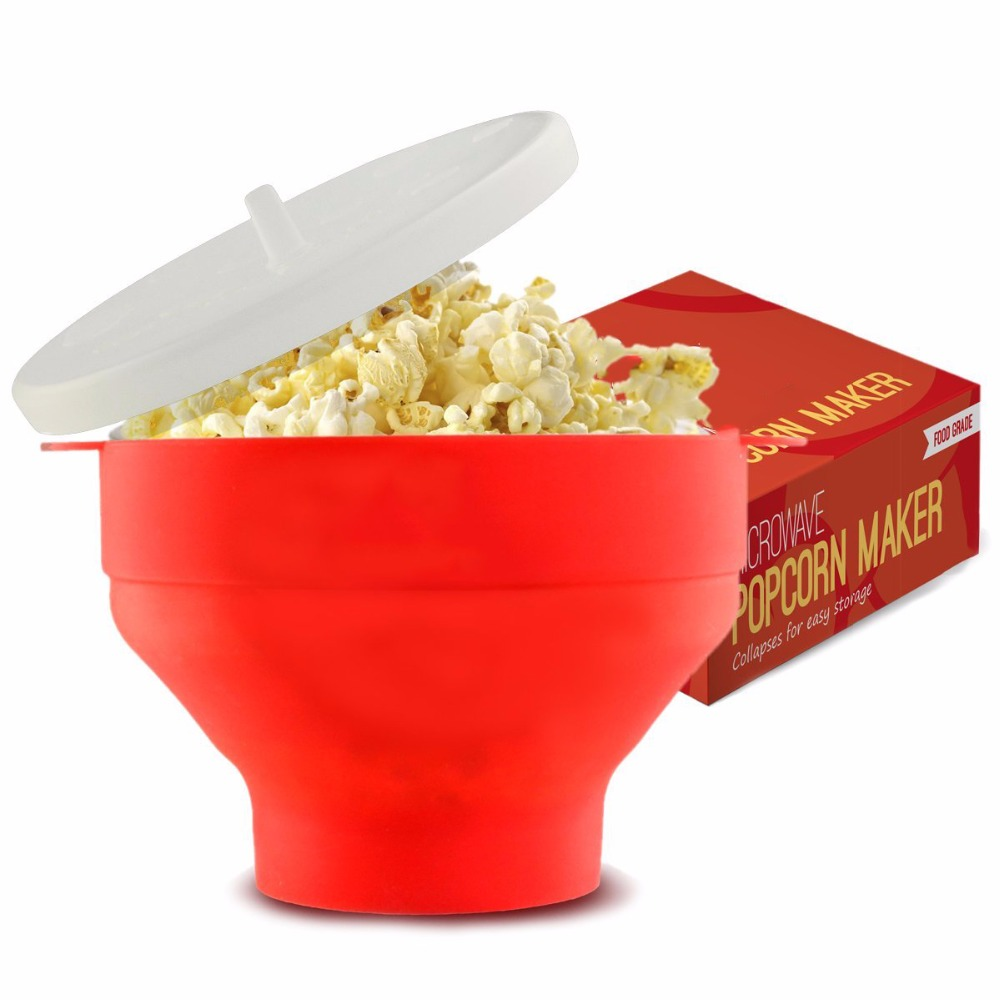 FDA Premium Popcorn Popper Silicone Bowl with Lid