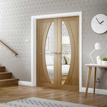 Uniqdoor living room french door oak wood veneer entry door clear glass inserts design