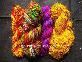 Recycled sari silk knitting yarn