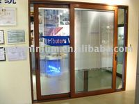 LM150 aluminium wood sliding door with electrical blind