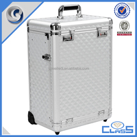 MLD-TC306 Newest Silver Aluminum Cosmetic Box Pro Rolling Jewelry Makeup Case w Drawers Code Lockable