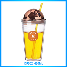 Wholesale promotion clear double wall plastic bath mug, plastic bathroom mug