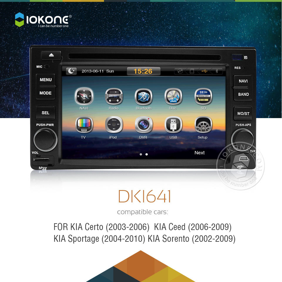 Iokone Bluetooth Car DVD GPS Navigation System For Kia Sportage