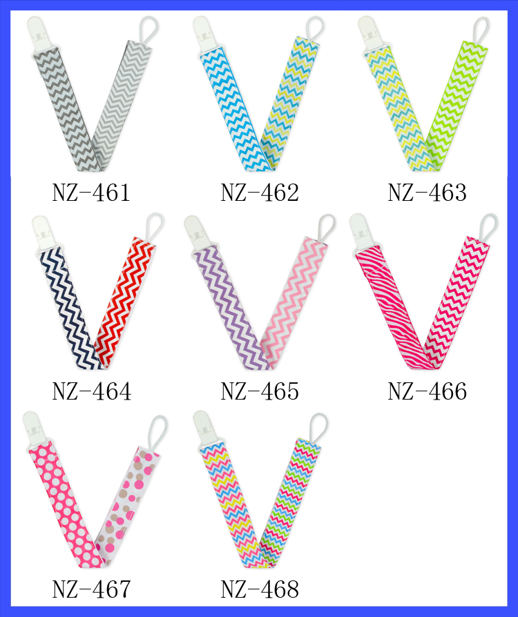 Wholesale Cheap Cotton Sided Pacifier Clip Holder Wave Printed Baby Feeding Product