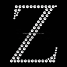 Bling bling hotfix alphabet letter Z rhinestone heat transfer design for clothes