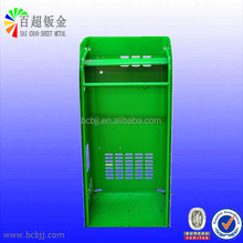 Green Powder-coated Precision Custom Metal Case for Fabrication Parts