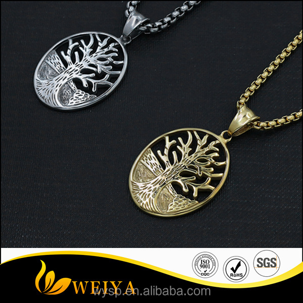 Fashion stainless steel oval cut high polished gold tree of life necklace