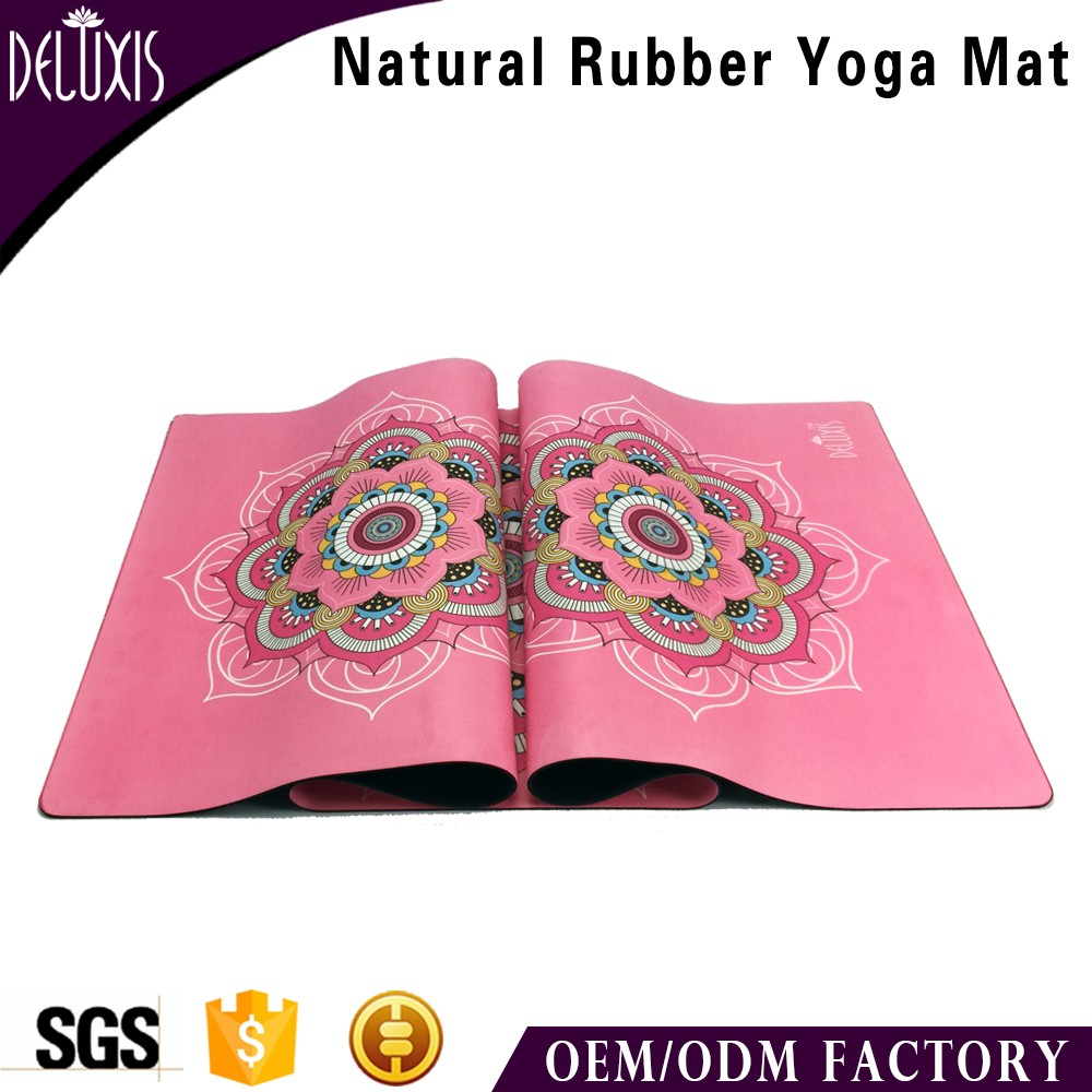 Thick eco friendly custom digital printed natural rubber travel yoga mat