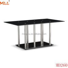 2016 Black Painted Tempered Glass pictures of dining table with Stainless Steel Base