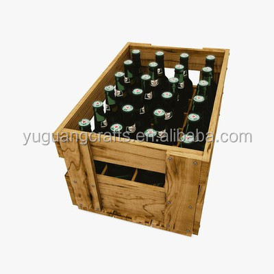 Cheap antique bruned color wooden beer bottle crates buy for Vintage crates cheap