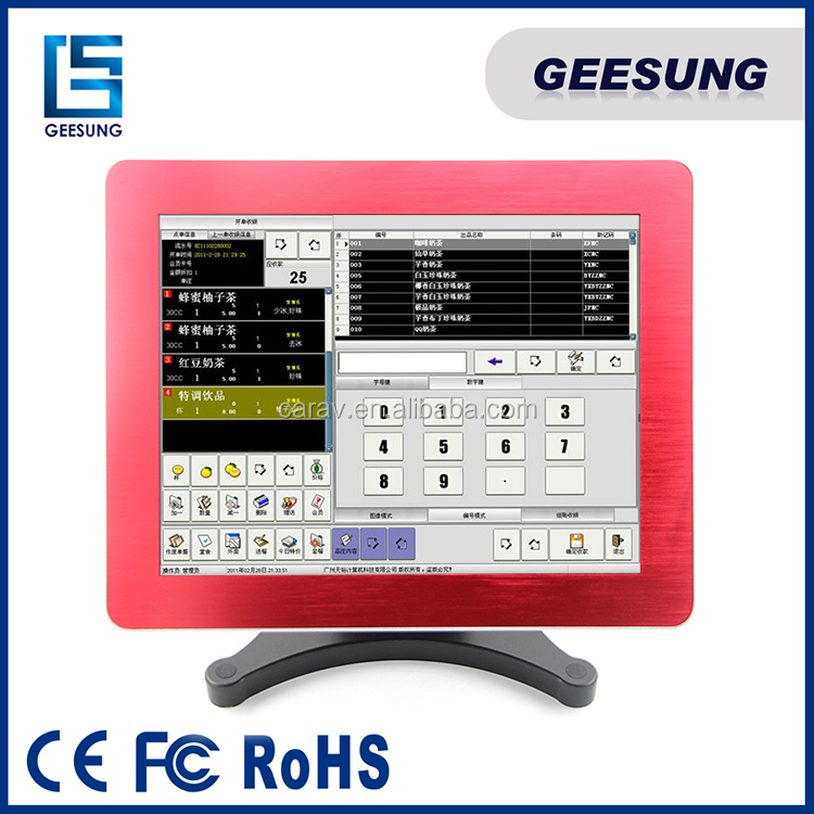 Metal housing 15 Inch Touch Screen Linux Pos Terminal With J1900 Quad Core