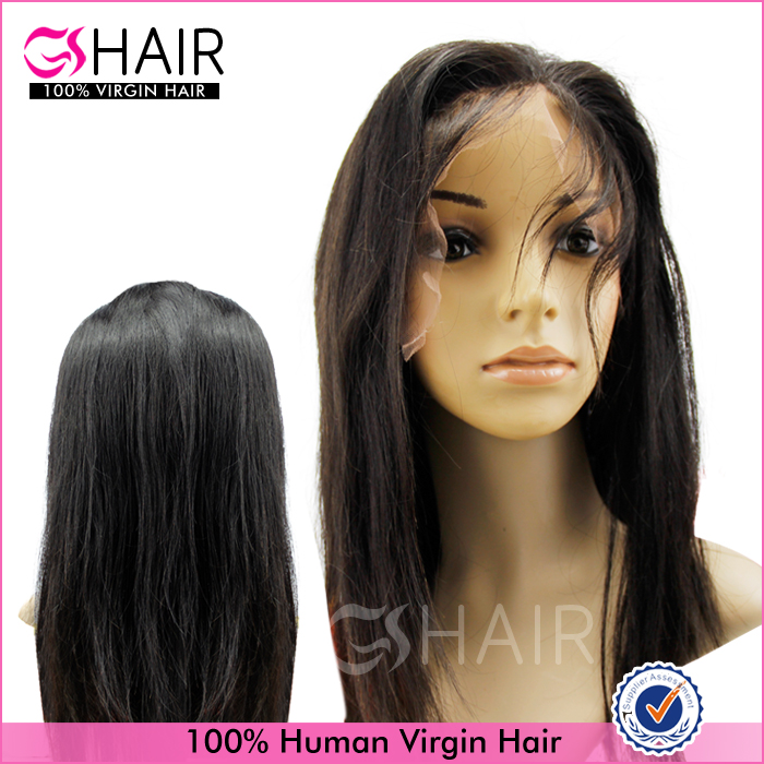 Stocked virgin hair straight hair wigs natural brazilian hair glueless full lace wig