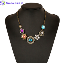 Beautiful Jewelry Factory Wholesale Acrylic Plated Flower Shaped Pendants Statement Necklace Winter Hot Sale Jewelry
