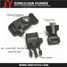 "2015 new 1/2"" fire starter whistle buckle with compass, fint rod whistle buckle ,whistle buckle with firesteel"