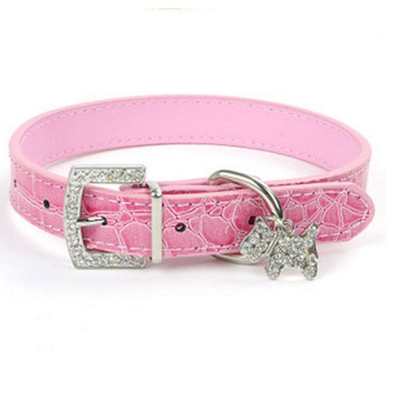 PinPai brand 2017 fashion pet accessories wholesale crystal bling luxury bulk custom PU leather dog collar