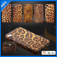 fashion design leopard print theme PC mobile phone case for iphone 4 5(OBS-M6084)