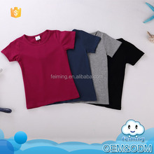 China manufacturers wholesale price pure color cotton high quality plain novel simple kids brand name blank t-shirt