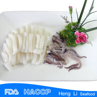 Whole frozen squid cut