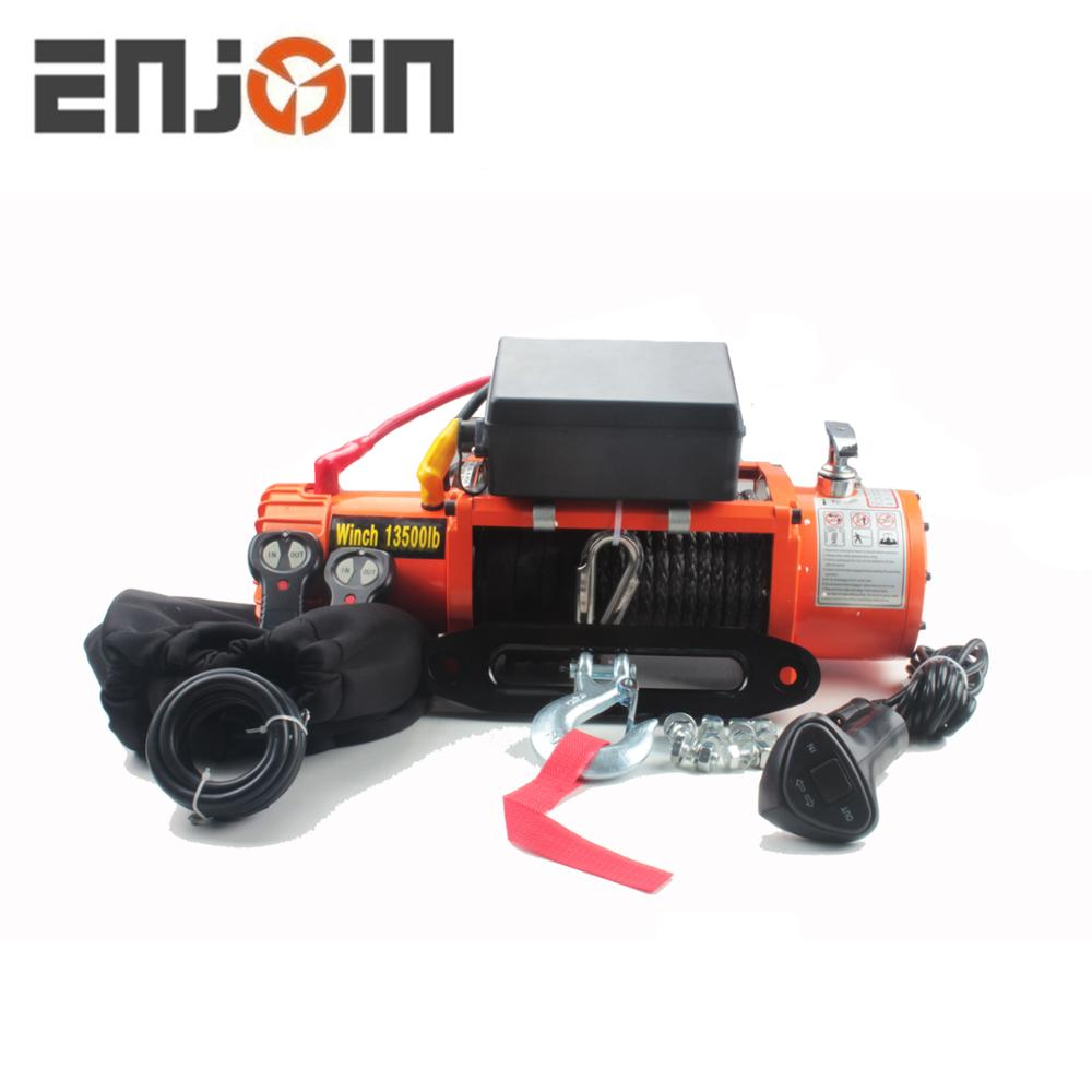 ENJOIN UK Hot Sell Electric Winch 13500 lbs 12v With Cable or Rope 4x4 Recovery Off Road Winch