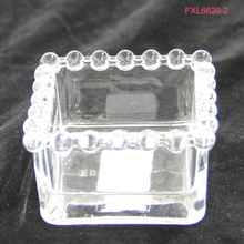 PERLE Pearls Beads Rim Square Crystal Clear Glass Butter Dish Dessert Bowl