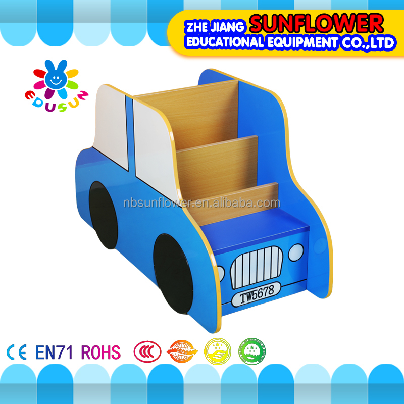 Kids storage cabinets wooden car shape kids learning toys children bookshelf