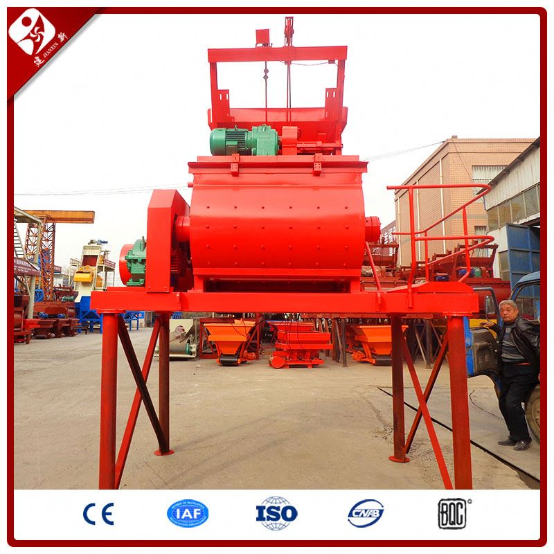 single horizontal shaft electric mobile hopper type mini cement mortar mixer with pump