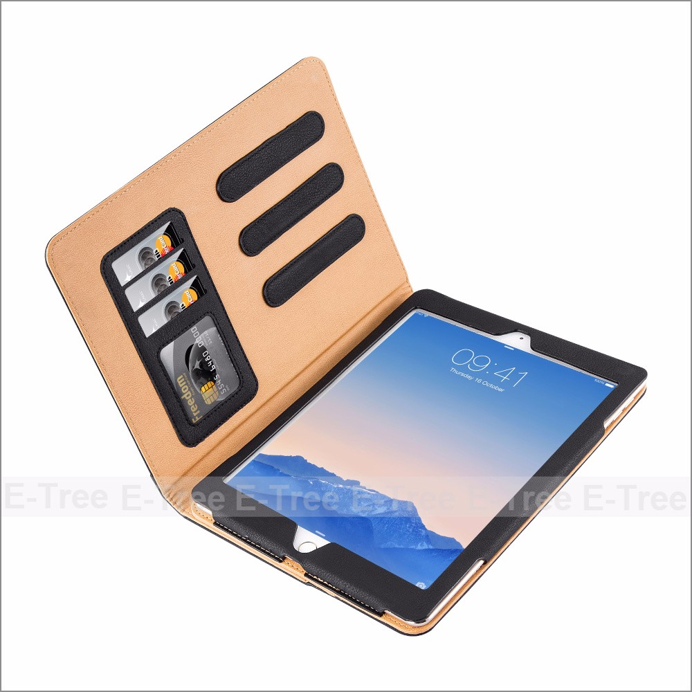 Tan Leather Case Cover For ipad Air And Air 2 Multiple Viewing angles With Auto Sleep Wake Function