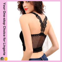 Black Sexy Butterfly Lace Girl Bandeau Tube Top