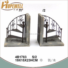 high quality metal wood bookend , antique bookstand for sale