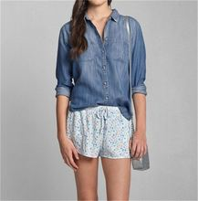 Latest Arrival simple design denim ladies blouse with good offer