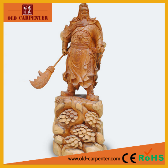 Religious wooden buddha Guangong artifacts- hand carved wooden Maitreya buddha carving