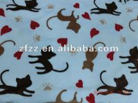super soft coral fleece fabric with cat print