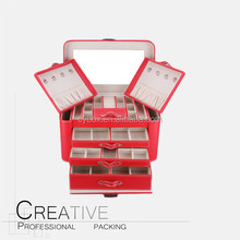 Luxury Multifunction Red Color Pu Leather Jewelry Storage Box With Many Compartments