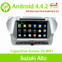 Android 4.4 car audio dvd gps with Capacitive touch screen for Suzuki Alto ,3G,WIFI,player,multimedia,support TPMS/OBD