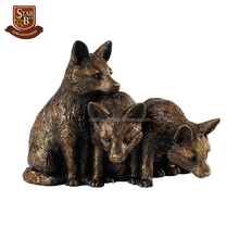 Hot sale fairy garden statue cute resin bronze fox cubs figurine