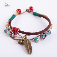 2017 Best selling fashion special punk feather leaf make braided leather bracelet with beads