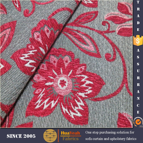 Chinese flower pattern upholstery chenille sofa set cover fabric