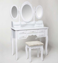wooden triple-mirror dressing table with drawer